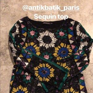 One of a kind bohemian sequin top.